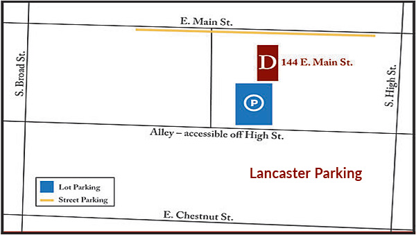 Dagger Law, Lancaster Ohio Parking Map, 43130 Fairfield County 144 East Main Street