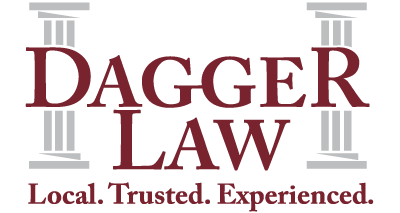 Dagger Law logo. Local Trusted Experienced tag line