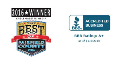 2016 Eagle Gazette Media Best of Fairfield County Badge and BBB accredited Business Badge
